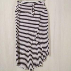 Seven7 Striped Faux Wrap Hi Lo Skirt